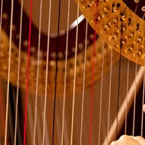 A SFCM harpist performing in the SFCM orchestra