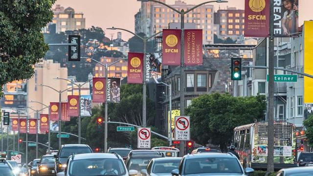 A photo of SFCM banners in San Francisco
